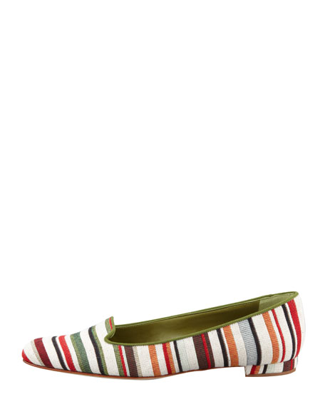 Sharif Striped Fabric Smoking Slipper, Green/Red