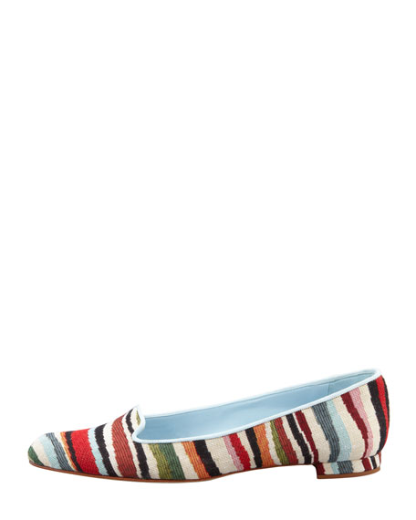Sharif Striped Fabric Smoking Slipper, Multicolor
