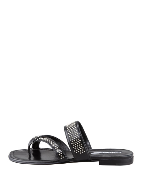 Susabor Toe-Ring Studded Flat Sandal, Black