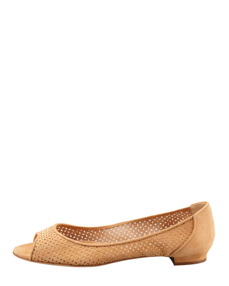 Anetina Perforated Ballerina Flat, Camel