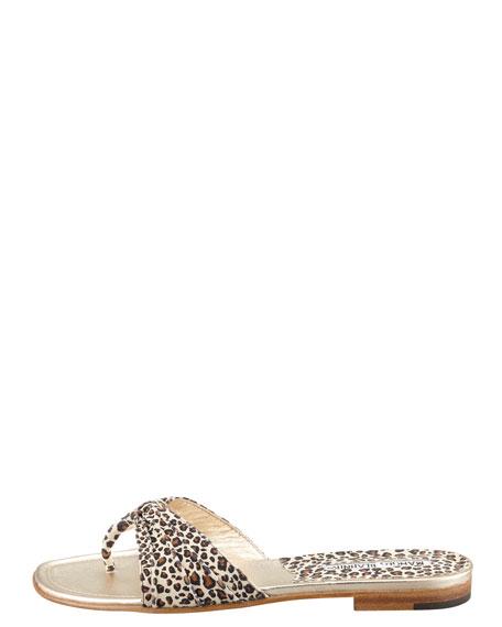 Berna Leopard-Print Slide Thong Sandal