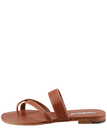 Susa Flat Leather Sandal, Luggage