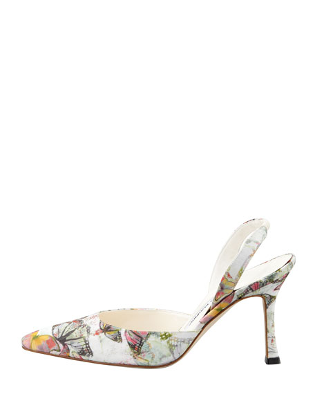 Carolyne Butterfly-Print Halter Pump