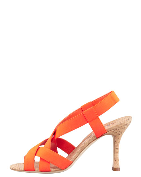 Lasti Crisscross Cork Slingback Sandal, Orange