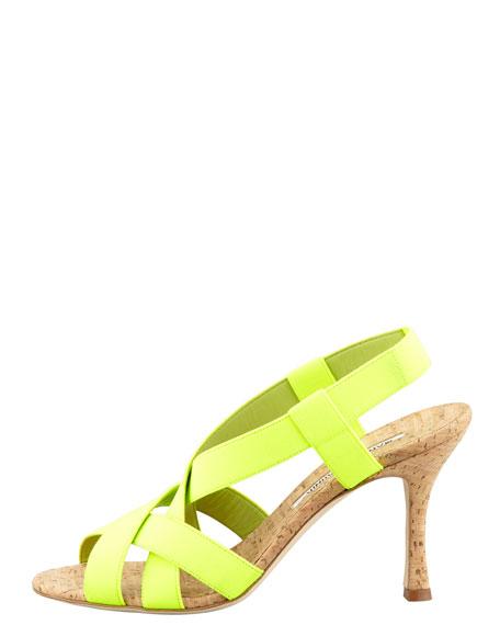 Lasti Crisscross Cork Slingback Sandal, Yellow