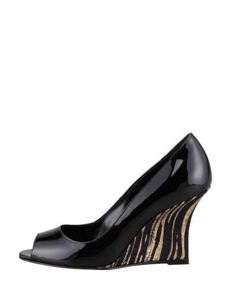 Quello Patent Leather Wedge Pump, Gold/Black
