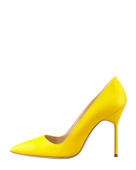BB Patent Pointed-Toe Pump, Yellow