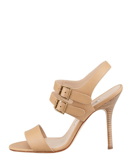 Bakhita Double-Buckle Sandal, Camel