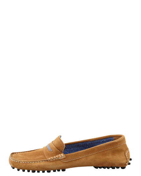 Terry-Trimmed Suede Driver, Hazel/Blue