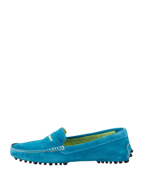 Terry-Trimmed Suede Driver, Blue/Lime