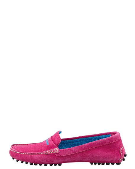 Bicolor Terry-Trim Driver, Fuchsia/Blue