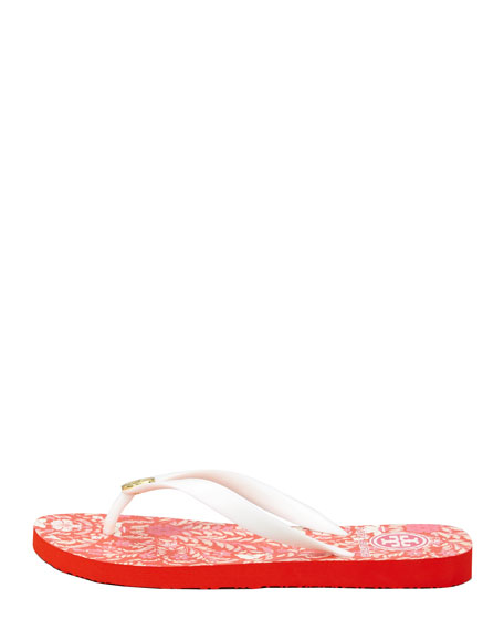 Tropical-Printed Flip-Flop Sandal