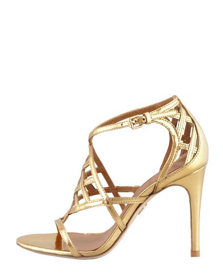 Amalie Metallic Cage Sandal, Gold