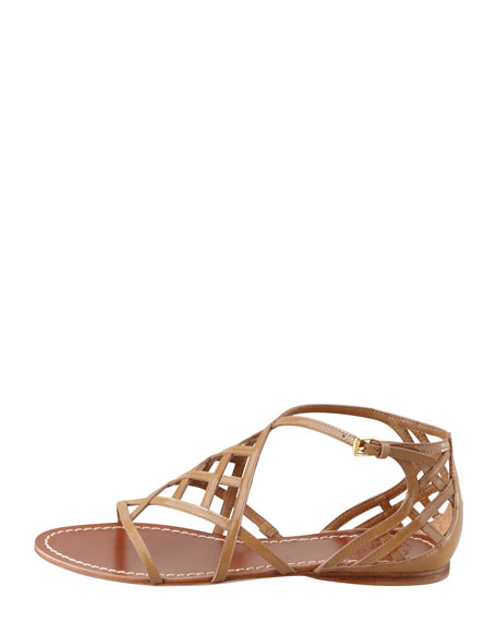aecb25a5795989 Tory Burch Amalie Patent Leather Flat Cage Sandal