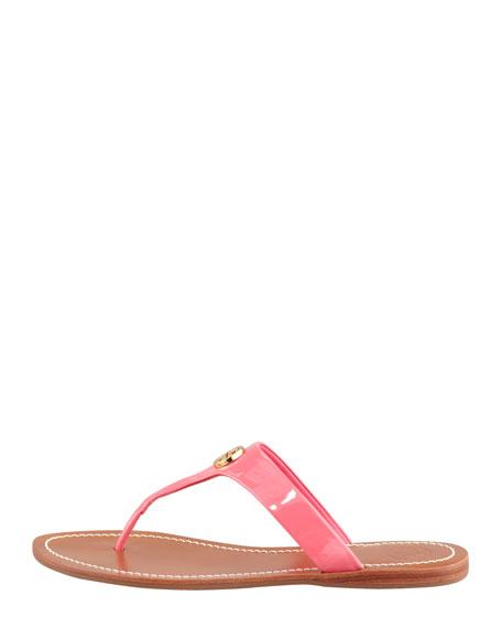 Cameron Patent Logo Thong Sandal, Bougainvillea Pink