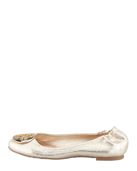 Reva Vintage Metallic Ballet Flat, Platinum/Golden