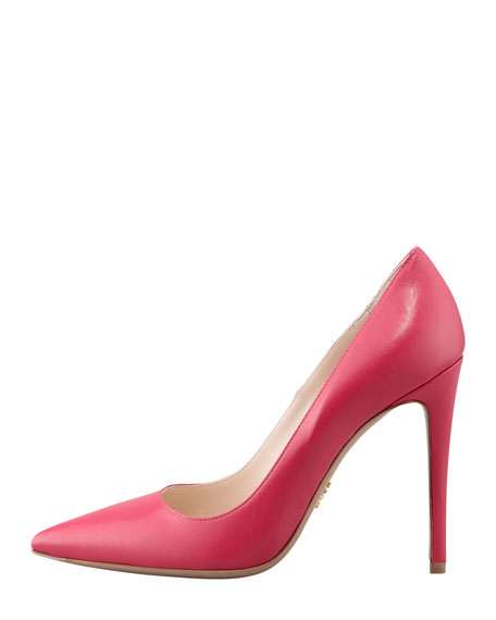 Capretto Leather Pointed-Toe Pump, Peonia