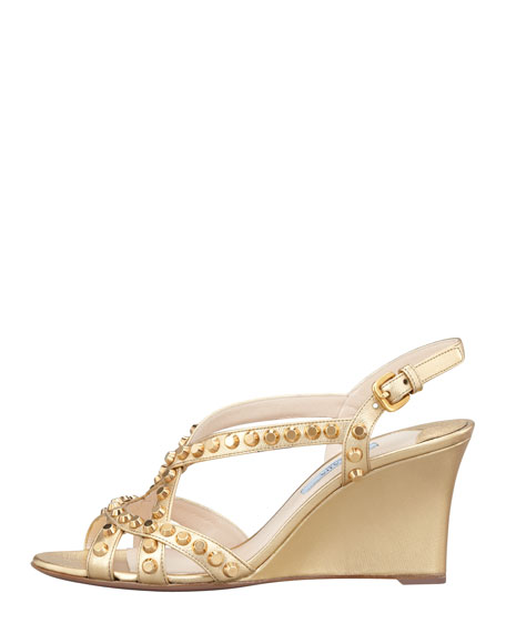 Studded Open-Toe Strappy Wedge, Platinum