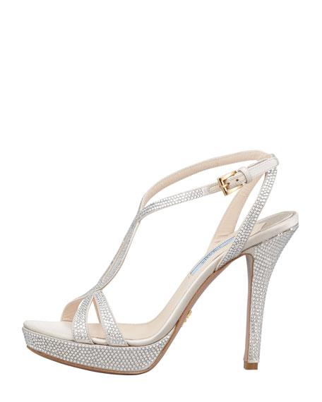 Satin Crystal Strass T-Strap Sandal
