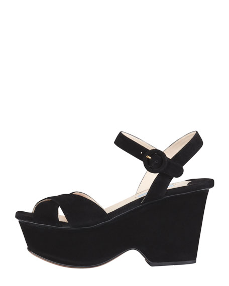 Suede Crisscross Cutout Wedge Sandal, Black