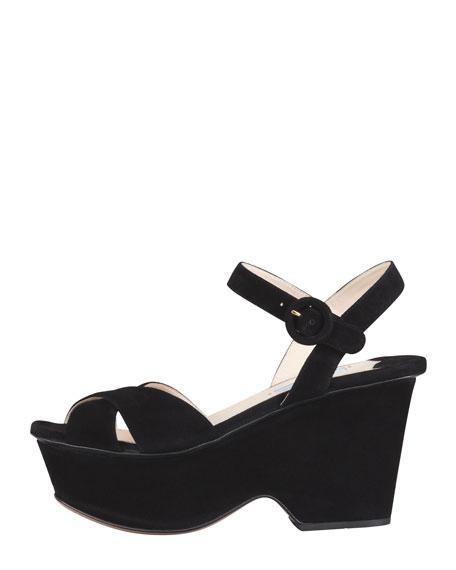 Suede Crisscross Cutout Wedge Sandal, Black