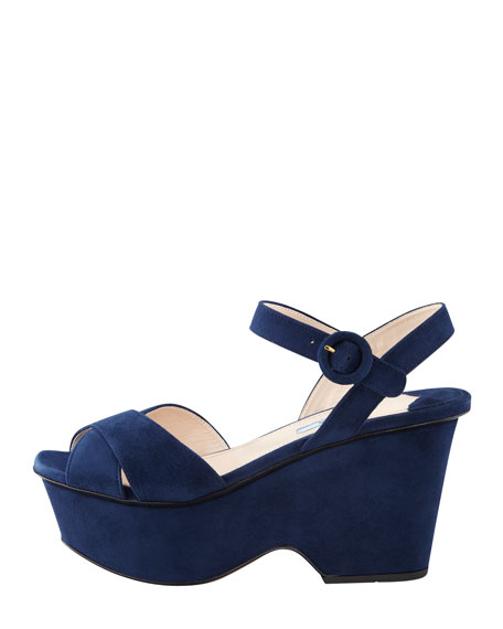 Suede Crisscross Cutout Wedge Sandal, Navy