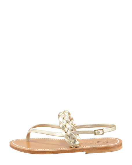 Pompei Braided Leather Slingback Flat Sandal, Platinum
