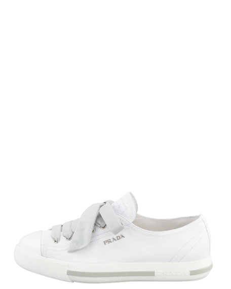 Cap-Toe Leather Sneaker, White
