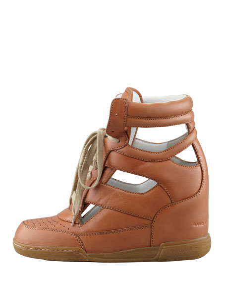 Cutout Wedge Sneaker, Nude