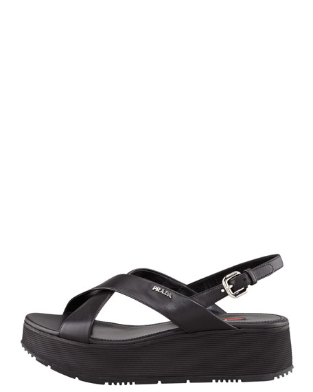 Crisscross Platform Wedge Sandal, Black