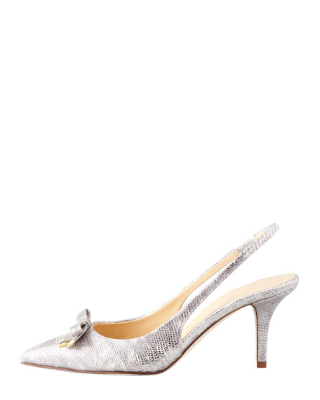 jeffie metallic lizard-print slingback pump