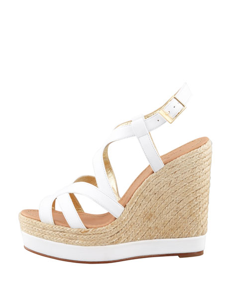 liv tumbled calfskin espadrille wedge, white
