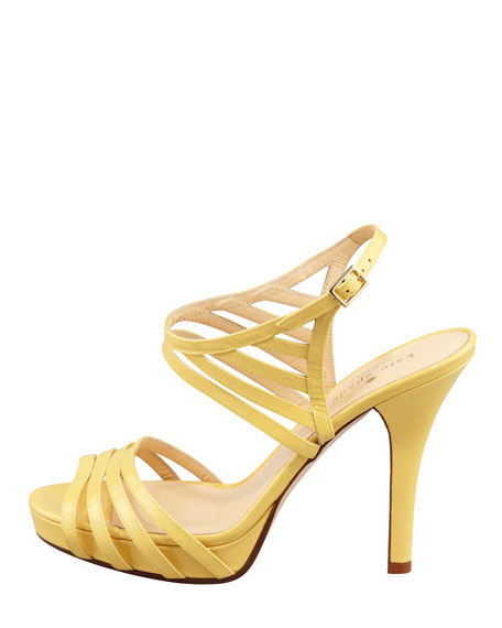 raven patent leather cage sandal, yellow