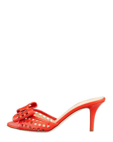 mailyn patent cutout slide, orange