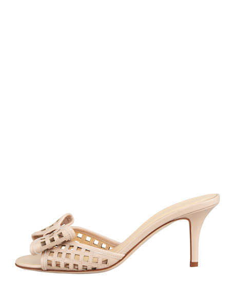 mailyn patent cutout slide, powder nude
