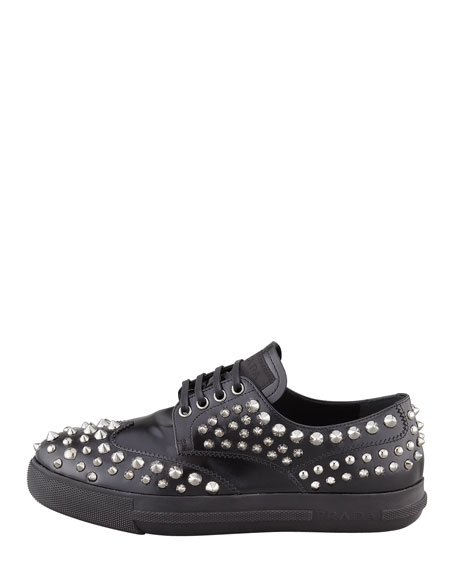 Studded Lace-Up Sporty Oxford, Black