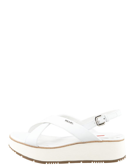 Leather Crossover Platform Sandal, White