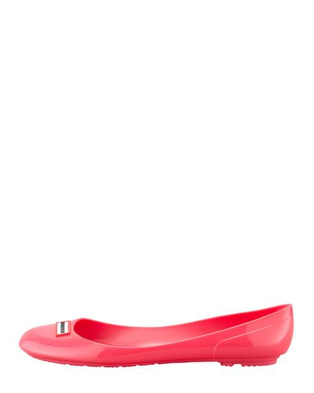 Romilly Weatherproof Logo Ballerina Flat, Neon Pink