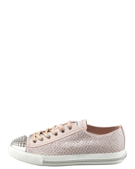 Micro Crystal Studded Cap Toe Sneaker