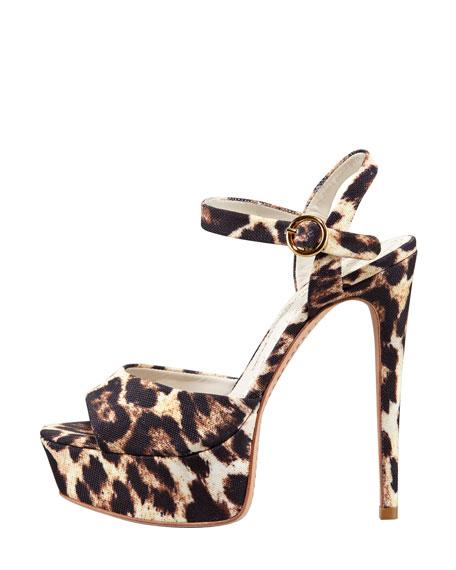 Lena Leopard-Print Canvas Platform Sandal