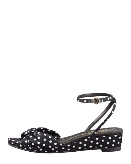 Alexi Polka-Dot Faille Low-Wedge Sandal