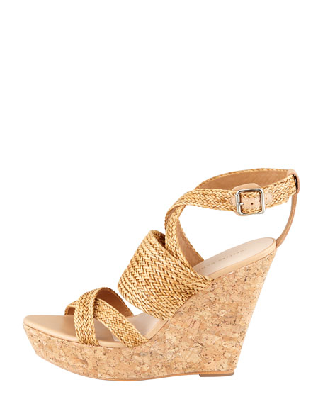 Lake Strappy Woven Cork Wedge
