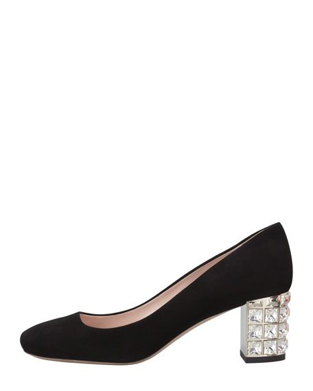 Suede Jewel-Heeled Pump, Black