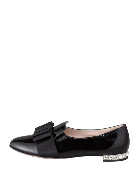 Patent Leather Bow Loafer, Black