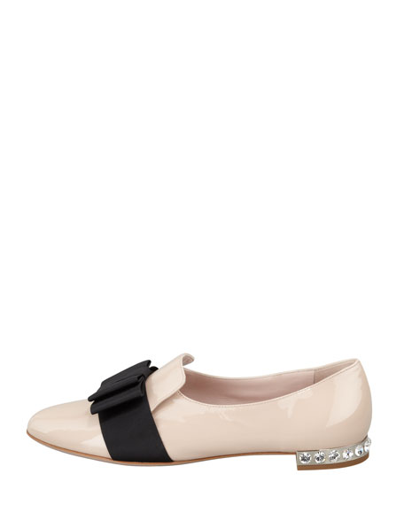 Patent Leather Bow Loafer, Pale Pink