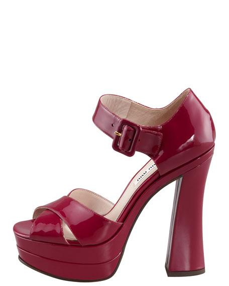 Patent Flare-Heel Sandal, Burgundy