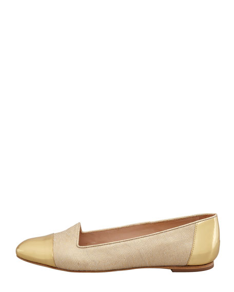 Britta Cap-Toe Lizard-Embossed Smoking Slipper, Gold