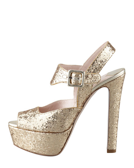 Glitter Peep-Toe Sandal, Gold
