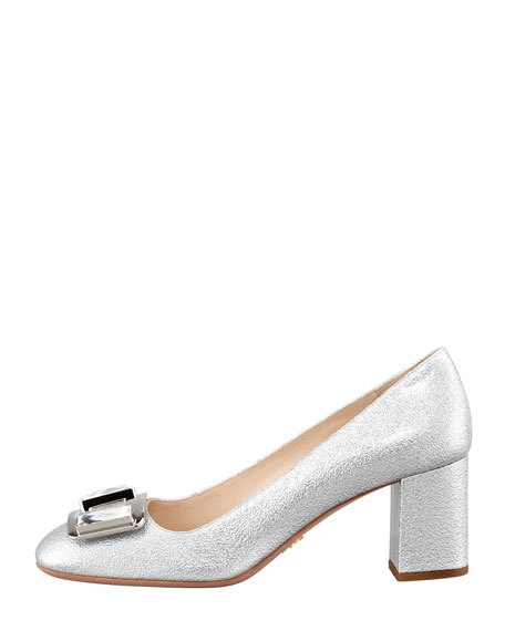 Metallic Ornament Block-Heel Pump, Silver