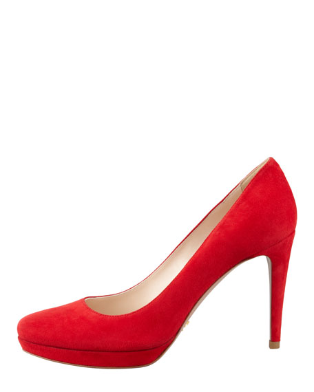 Suede Almond-Toe Pump, Red
